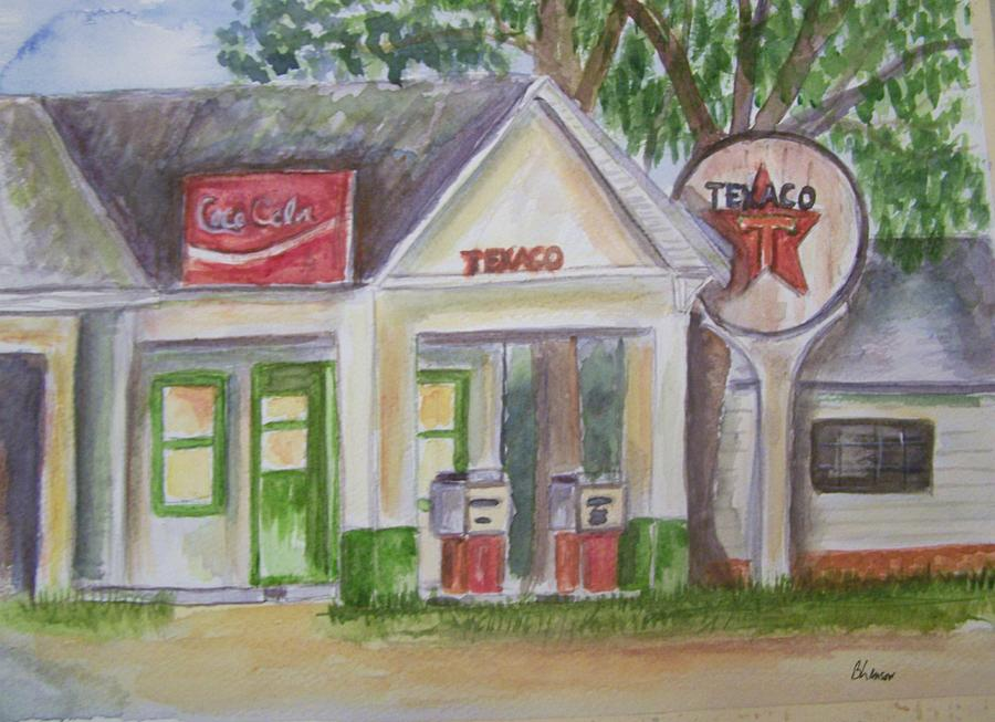 Landscape Painting - Vintage Texaco Gas Station by Belinda Lawson