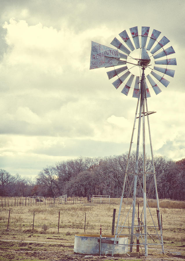 Windmills Photograph - Vintage Texas  by Kimberly Danner