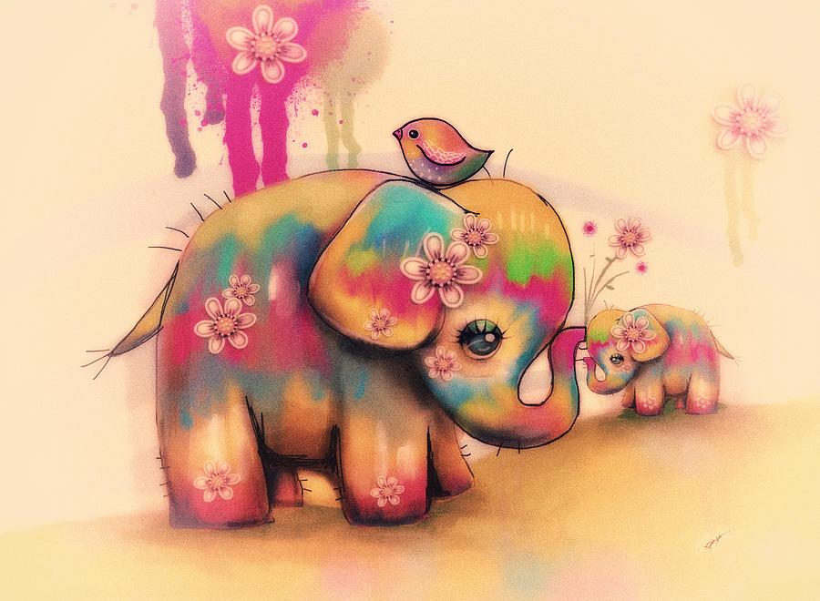 Prints Painting - Vintage Tie Dye Elephants by Karin Taylor