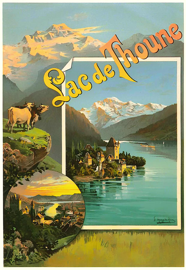 Switzerland Drawing - Vintage Tourism Poster 1890 by Mountain Dreams