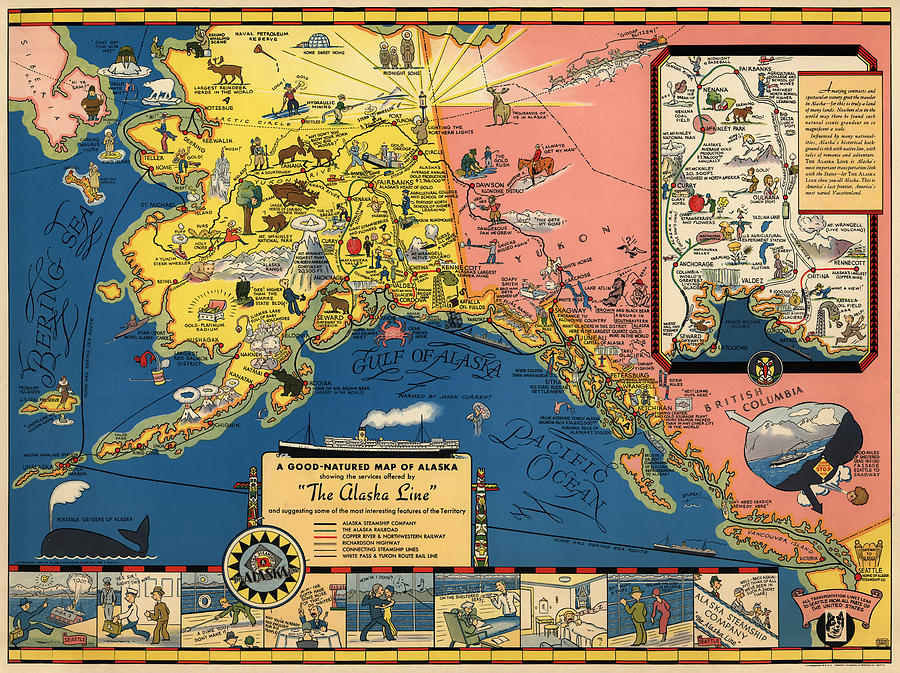 Vintage Tourist Map Of Alaska By The Alaska Steamship Co 1934 Drawing By Blue Monocle