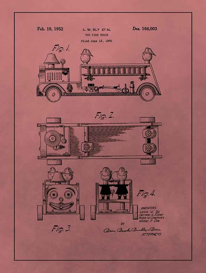 Toy Mixed Media - Vintage Toy Fire Truck Patent by Dan Sproul