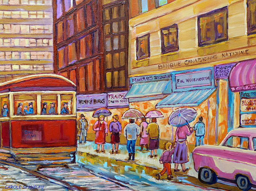 Montreal Painting - Vintage Tram Car-montreal Downtown Scene-classic Chevy Car by Carole Spandau