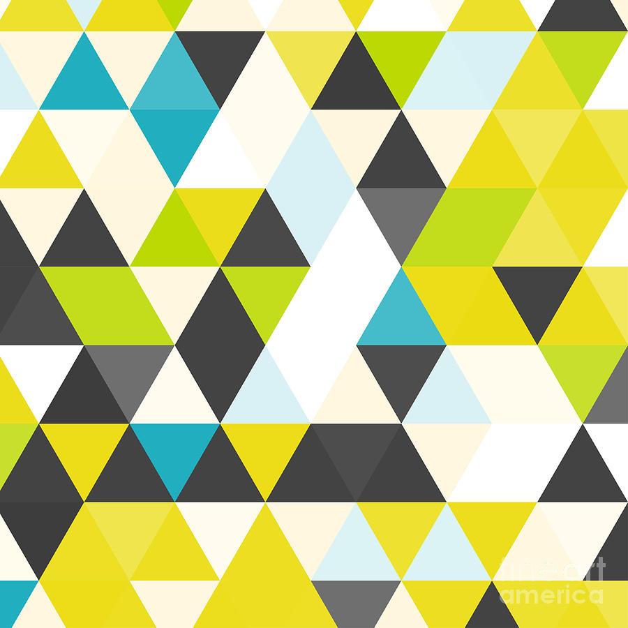 Vintage Triangle Pattern Geometric Digital Art By Veronika M