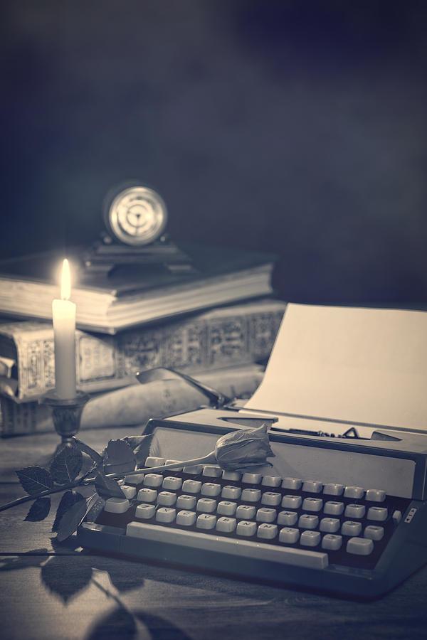 Shadowy Photograph - Vintage Typewriter by Amanda Elwell