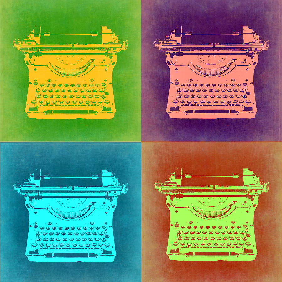 Typewriter Painting - Vintage Typewriter Pop Art 1 by Naxart Studio