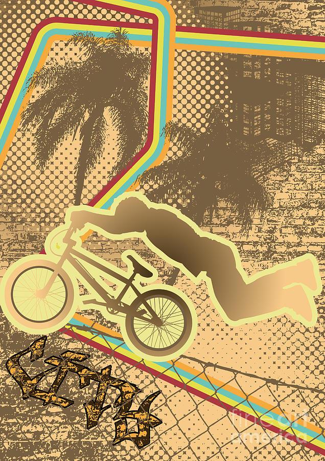 Bicycle Digital Art - Vintage Urban Grunge Background Design by Shockydesign