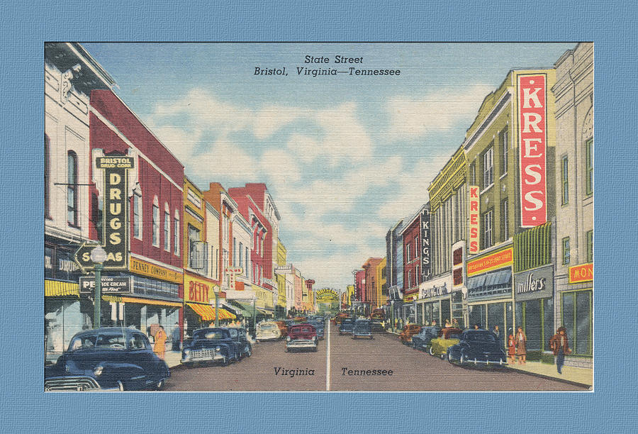 Bristol Digital Art - Vintage Va Tn Postcard Kress by Denise Beverly