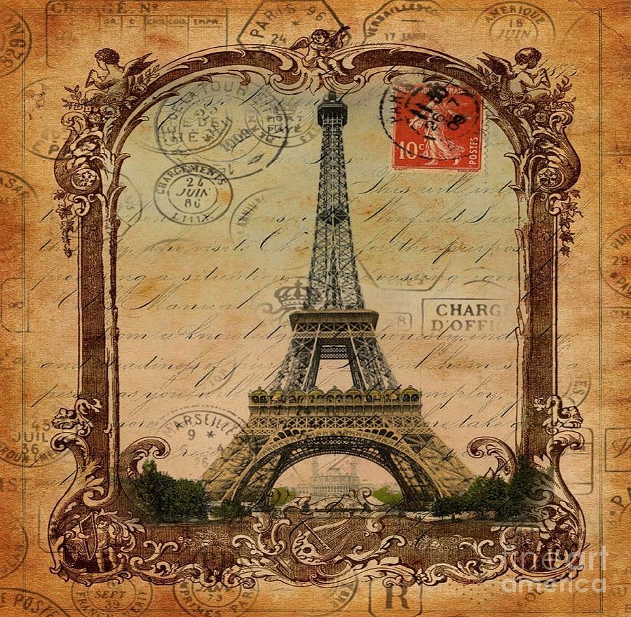 large picture frame collage ideas - Vintage Victorian Frame Paris Eiffel Tower Postage Art