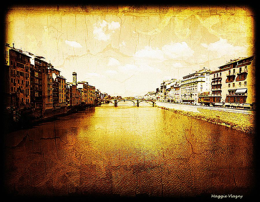 Cd Covers Mixed Media - Vintage View Of River Arno by Femina Photo Art By Maggie