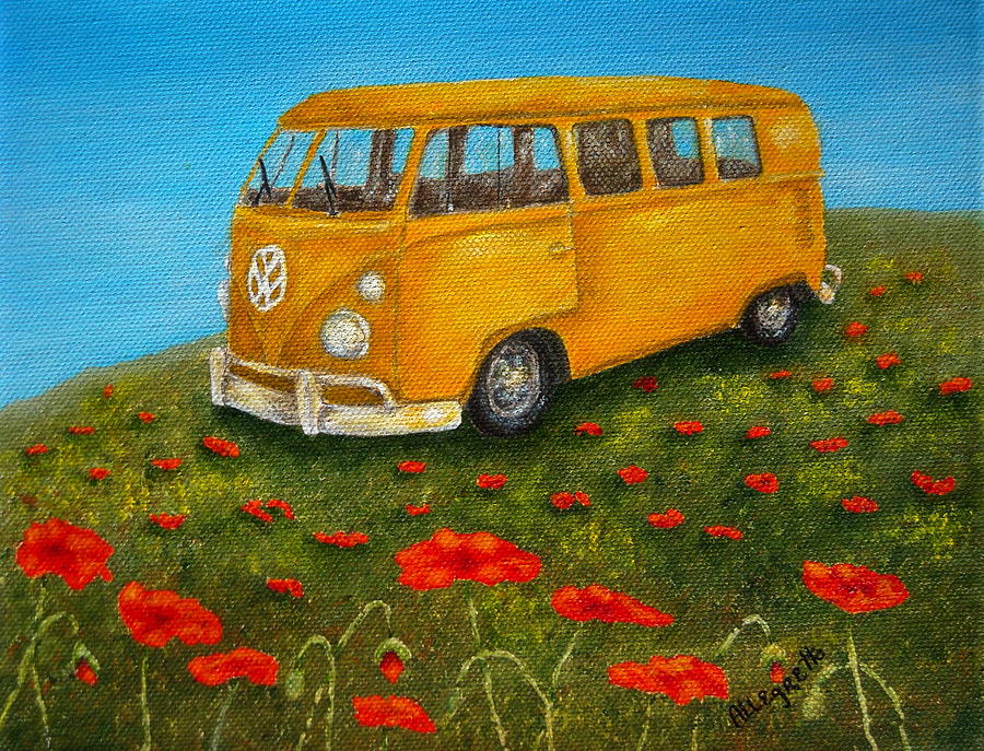 Vw Bus Painting -  Vintage Vw Bus by Pamela Allegretto