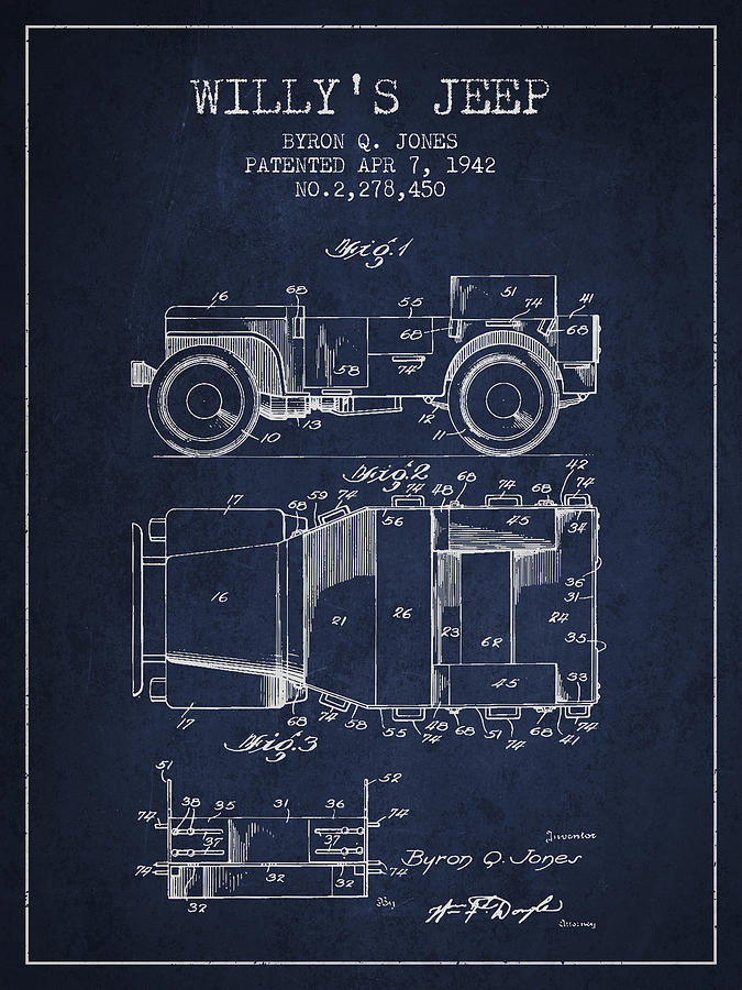 Willy Jeep Digital Art - Vintage Willys Jeep Patent From 1942 by Aged Pixel