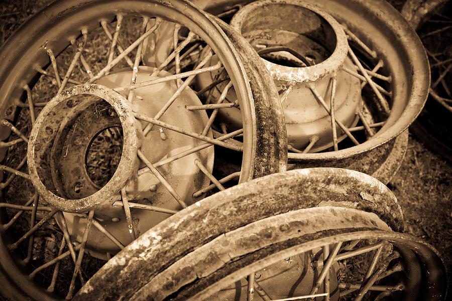 Deserted Photograph - Vintage Wire Wheels by Steve McKinzie