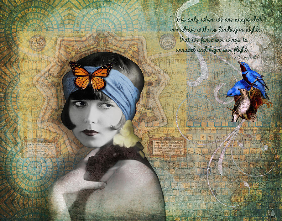 Butterfly Photograph - Vintage Woman Birds and Butterfly by Cat Whipple