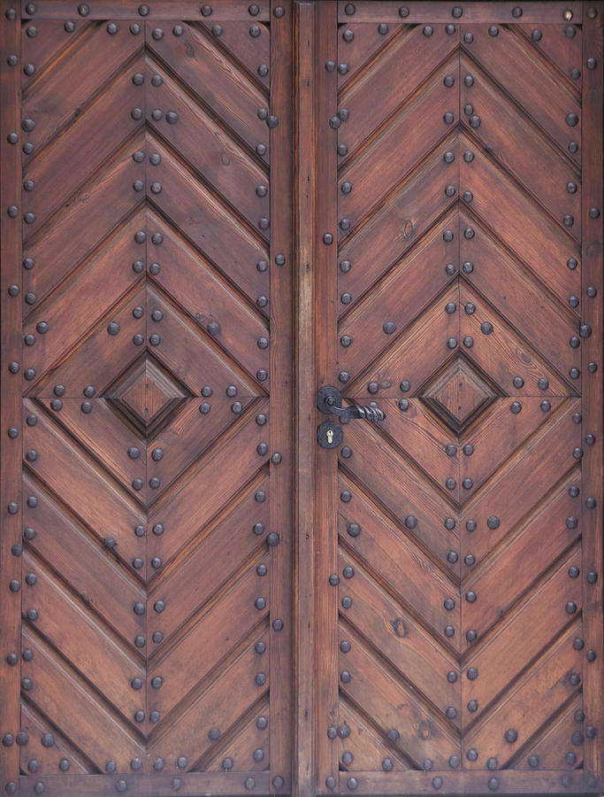 Vintage Wooden Brown Door Close-up Photograph by Bogdan Khmelnytskyi