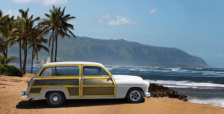Vintage Woody On Hawaiian Beach Photograph by Ed Freeman