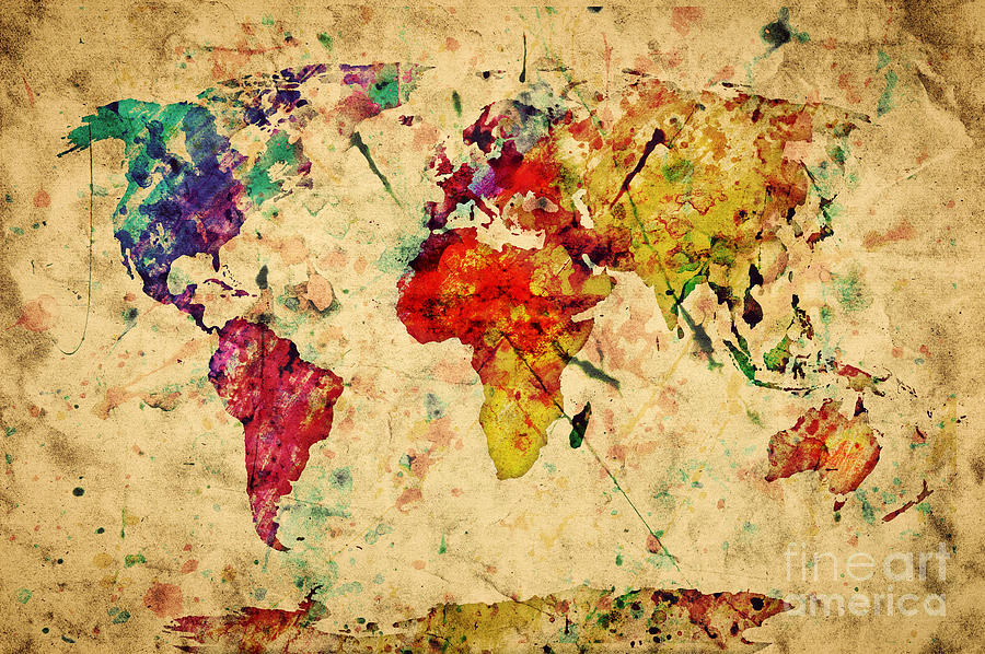 Vintage World Map Photograph By Michal Bednarek - Retro world map poster