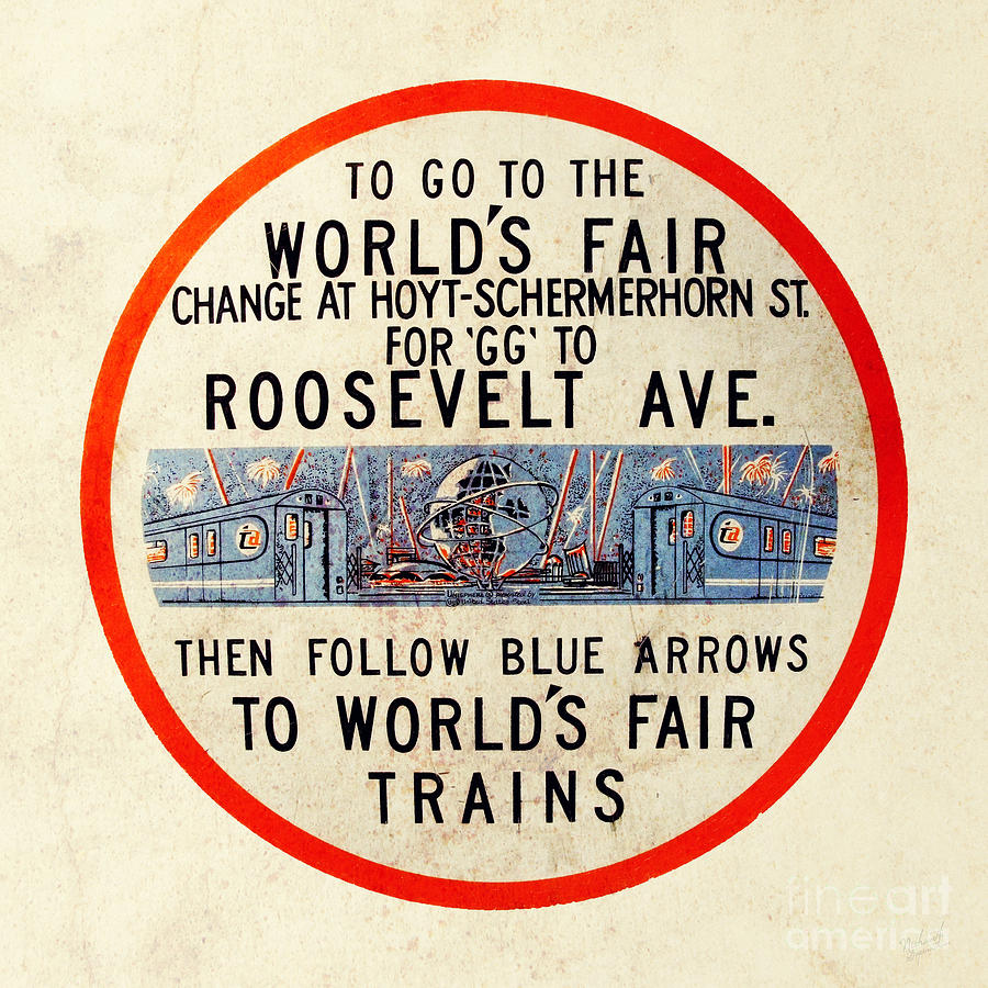 Vintage Worlds Fair New York Subway Sign Photograph