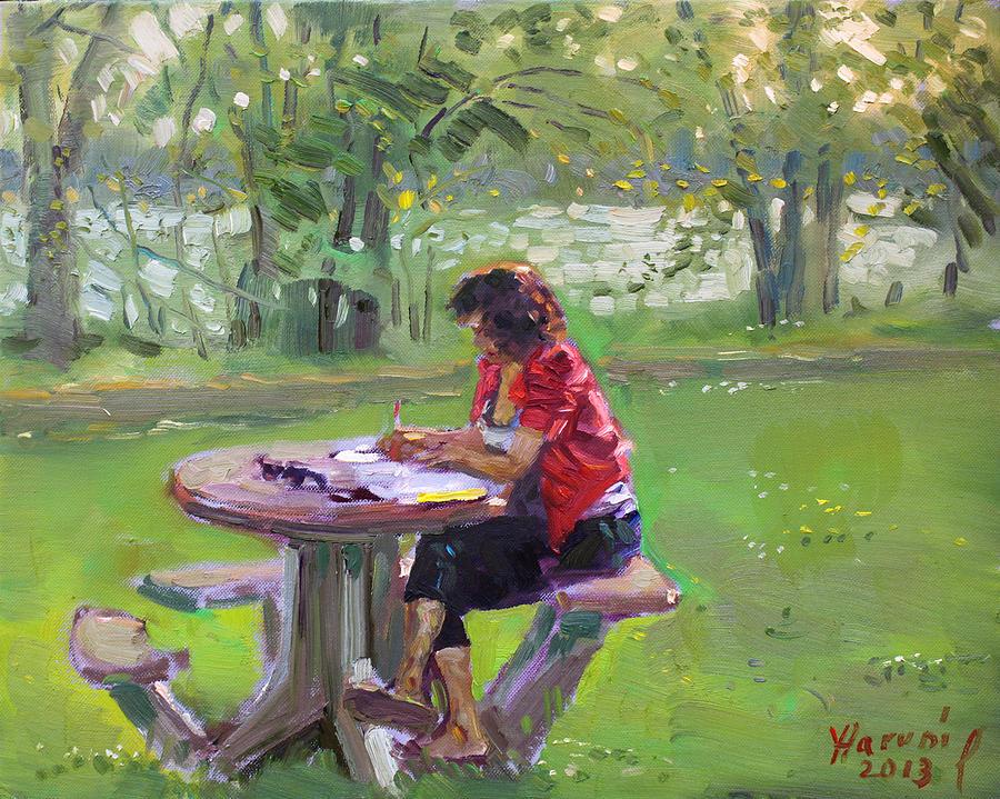 Math Teacher Painting - Viola - The Math Teacher by Ylli Haruni