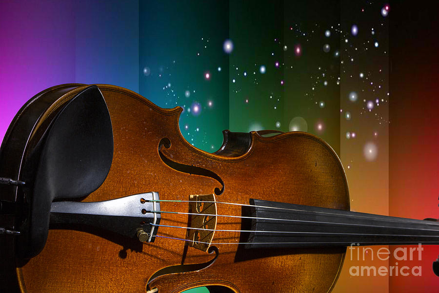 Viola Violin On A Star And Rainbow Background In Color 3073 02