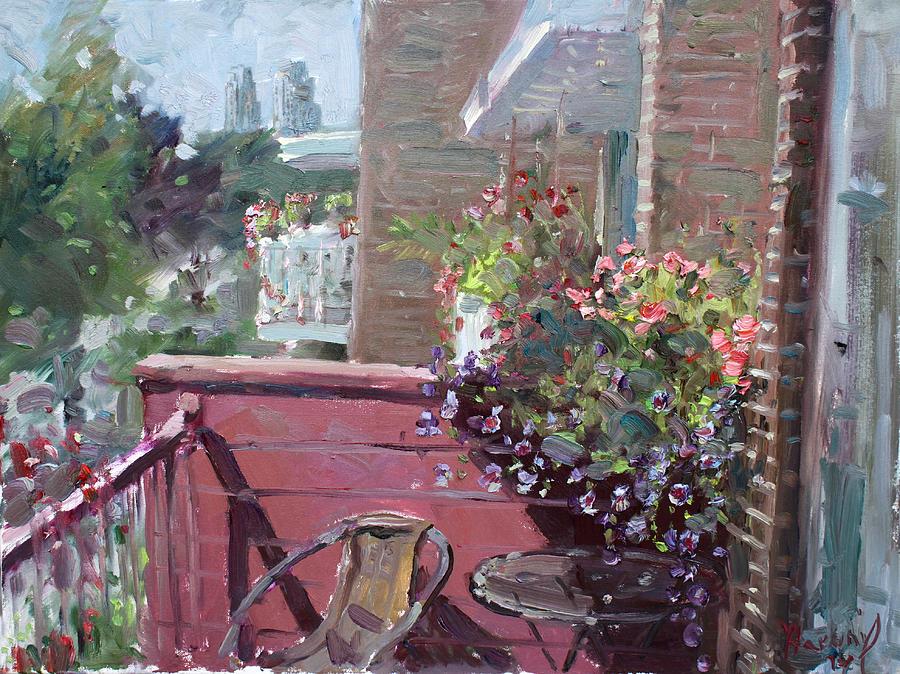 Flowers Painting - Violas Balcony by Ylli Haruni