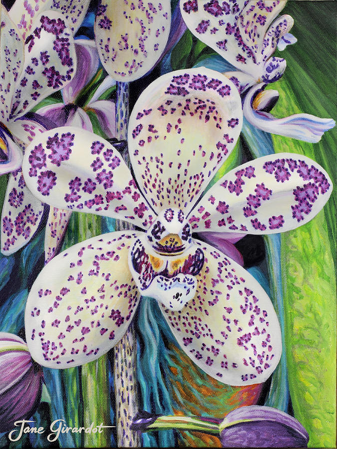 Flower Painting - Violet Dotted Orchid by Jane Girardot