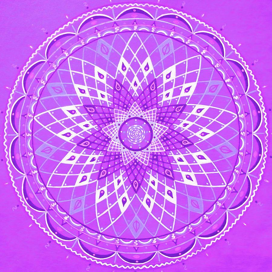 Violet Mandala Painting by Vlatka Kelc
