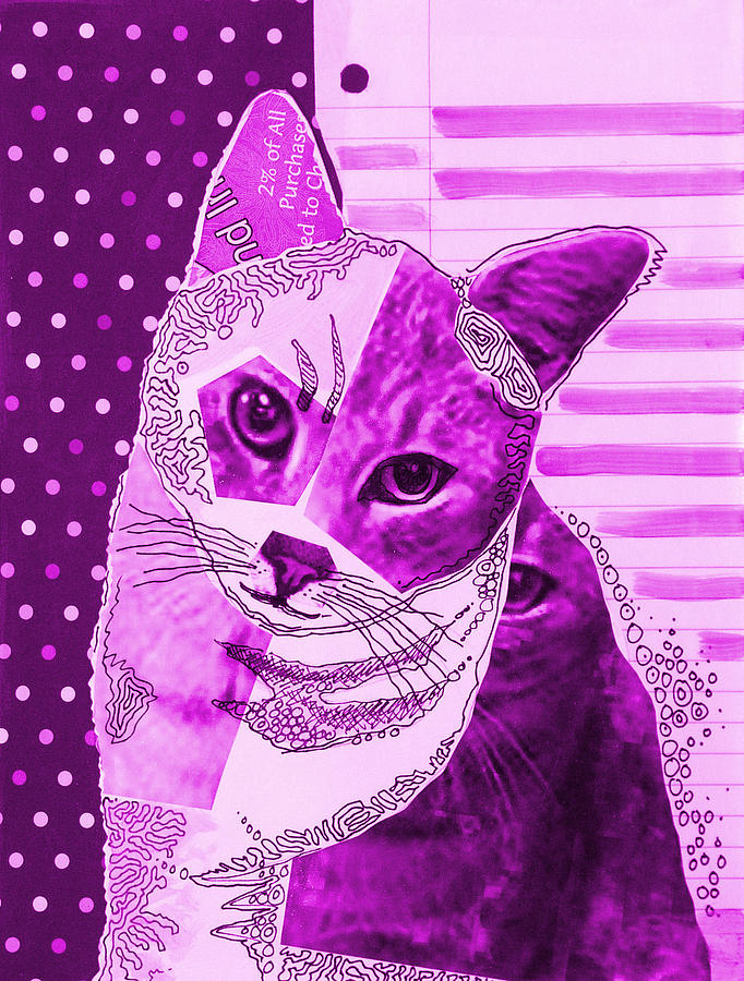 violet moxie abstract cat art painting by amy giacomelli