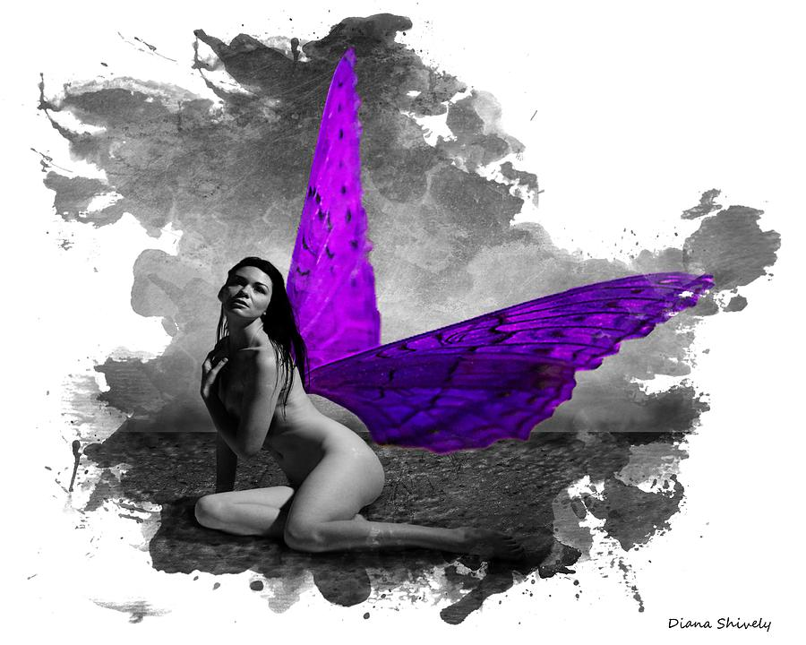Posters Digital Art - Violet Wings by Diana Shively