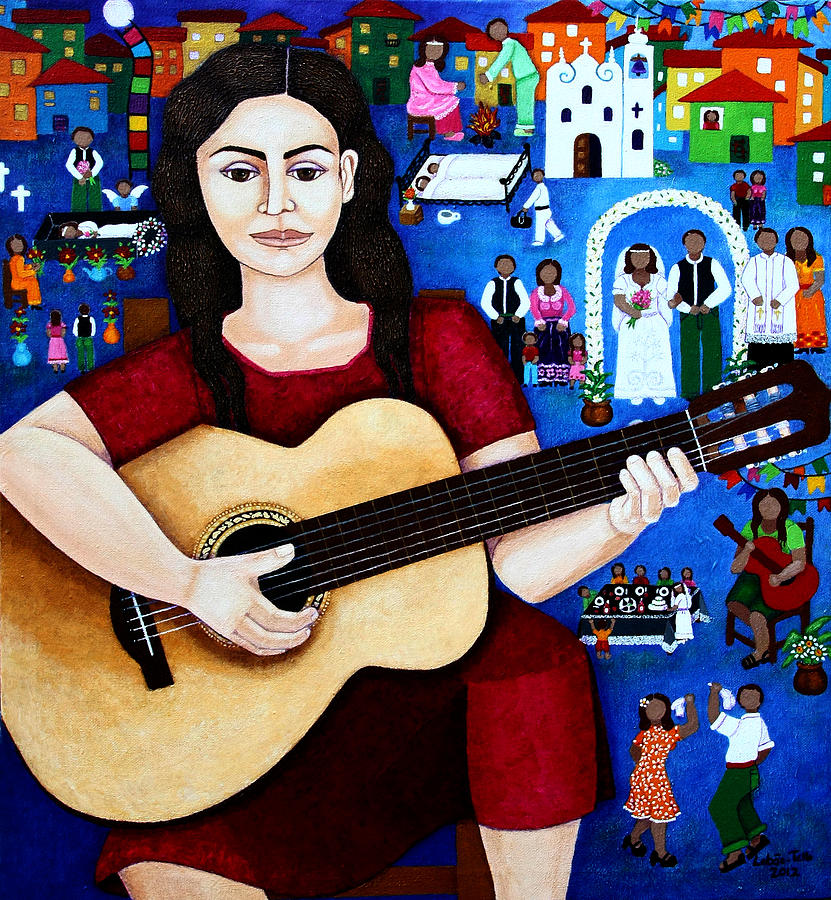Violeta Parra Painting - Violeta Parra And The Song Black Wedding by Madalena Lobao-Tello