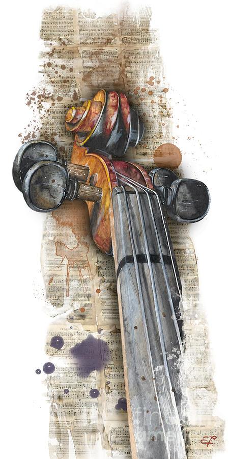 Aquarell Painting - Violin 01 Elena Yakubovich by Elena Yakubovich