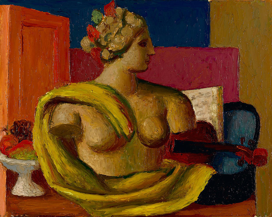 Violin Painting - Violin And Bust by Mark Gertler