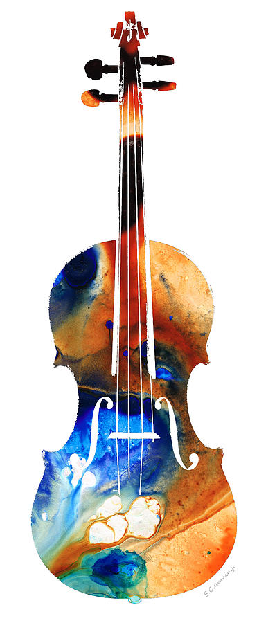 Violin Painting Black And White