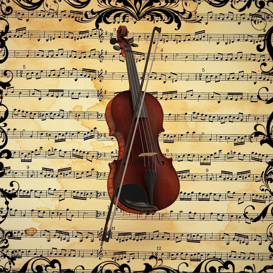 Violin Digital Art by Louis Ferreira