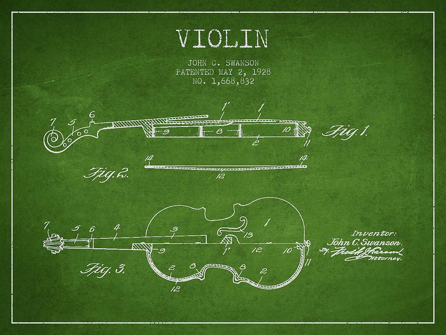 Violin Patent Drawing From 1928 Digital Art