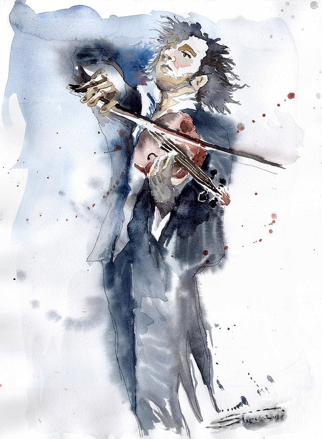 Music Painting - Violine Player 1 by Yuriy  Shevchuk