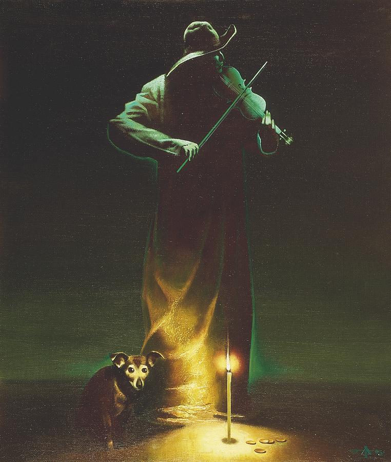 Figures Painting - Violinist by Andrej Vystropov