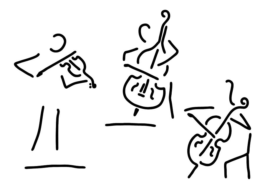 Violinist Cellist String Player Contrabass Drawing