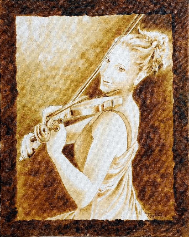 Sepia Painting - Violinist by R Panchal