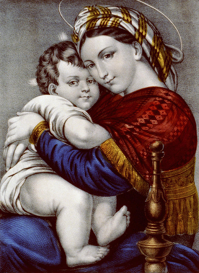 Artwork Painting - Virgin And Child Circa 1856  by Aged Pixel