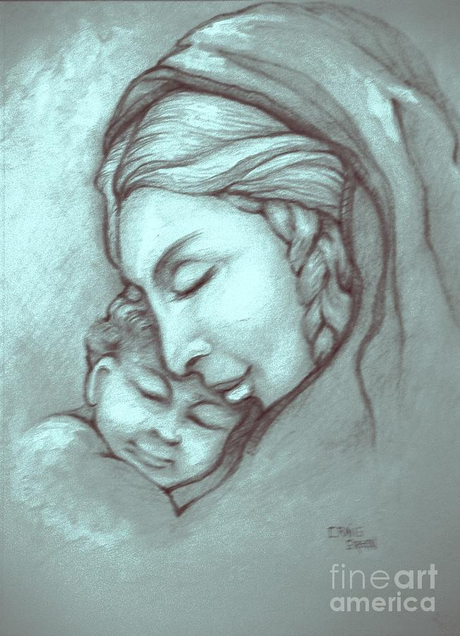 Virgin Mary Drawing - Virgin And Child by Craig Green