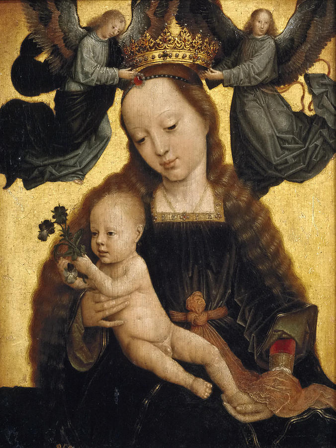 Gerard David Painting - Virgin And Child With Angels by Gerard David