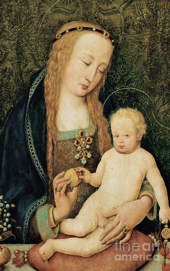 Madonna And Child Painting - Virgin And Child With Pomegranate by Hans Holbein the Younger
