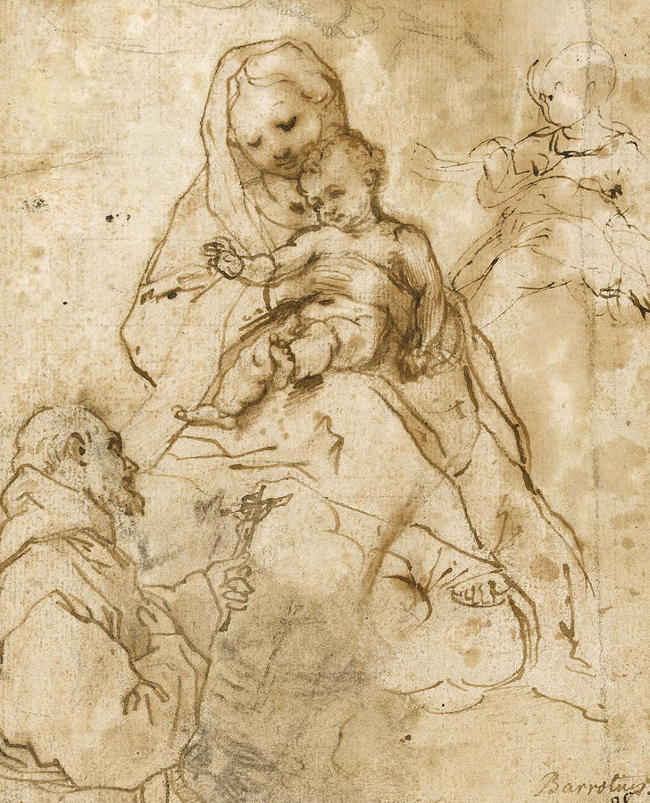 Virgin Mary Drawing - Virgin And Child With Saint Francis by Federico Fiori Barocci or Baroccio