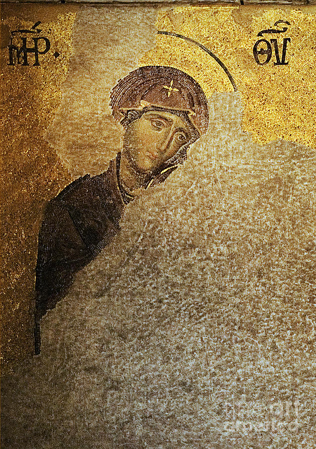 Christian Mosaic Photograph - Virgin Mary-detail Of Deesis Mosaic  Hagia Sophia-day Of Judgement by Urft Valley Art