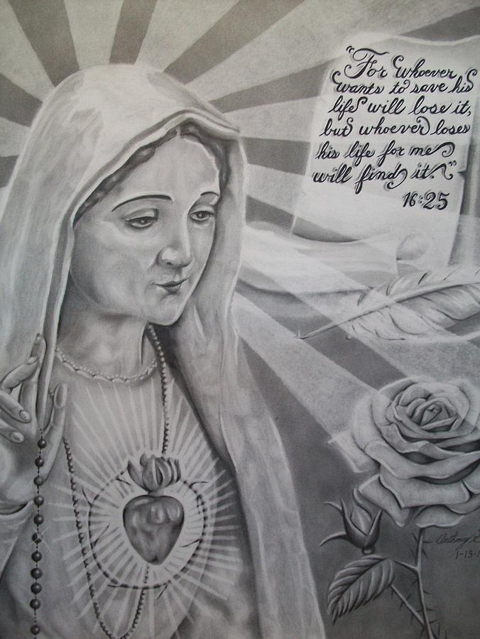 Virgin Mary Drawing - Virgin Mary With Flower by Anthony Gonzalez