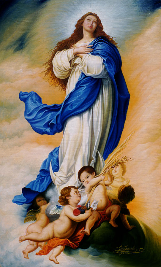 Immaculate Conception Painting - Virgin Of The Immaculate Conception After Murillo by Gary  Hernandez