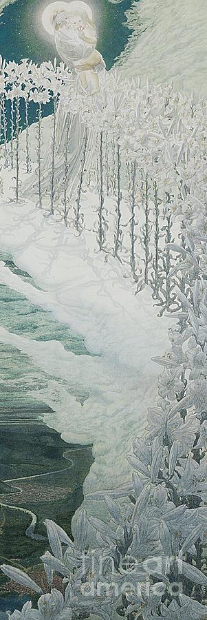 Carlos Painting - Virgin Of The Lilies by Carlos Schwabe