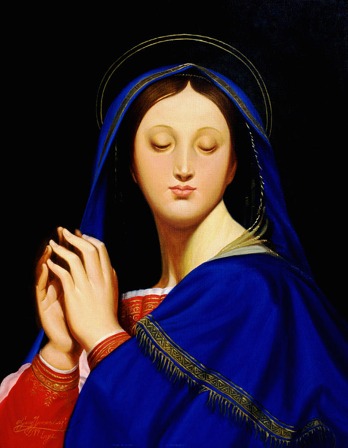 Religious Painting - Virgin With The Host After Ingres by Gary  Hernandez