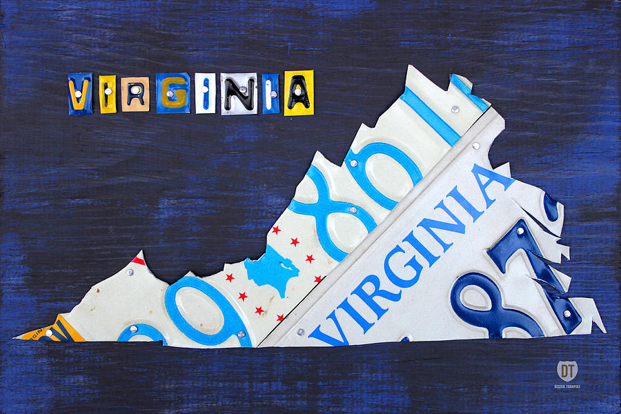 License Plate Map Mixed Media - Virginia License Plate Map Art by Design Turnpike